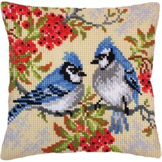 Needlepoint is one of many types of counted thread embroidery. Needlepoint can be carried out using a variety of stitched, but the most common method is to use tent stitch only and rely on colour changes (rather than texture) to produce the image. Cross Stitch Needles, Cross Stitch Bird, Cross Stitch Animals, Cross Stitch Flowers, Cross Stitch Designs, Cross Stitching, Cross Stitch Embroidery, Cross Stitch Patterns, Needlepoint Pillows