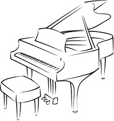 that is also the same with piano playing. The piano is a very special musical instrument and almost every individual desire to play it. Drawing Piano, Piano Art, Line Drawing, Painting & Drawing, Music Drawings, Art Drawings, Piano Crafts, Piano Lessons For Beginners, Best Piano