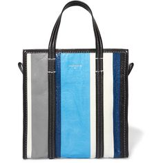 Balenciaga Bazar striped textured-leather tote ($1,495) ❤ liked on Polyvore featuring bags, handbags, tote bags, blue, zip tote, blue tote bag, logo tote bags, blue tote and zippered tote bag