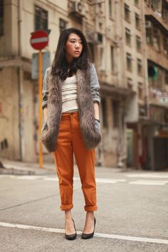 the style voyager: chinos + fur