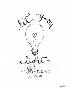 Let Your Light Shine Vintage Lightbulb Print ETSY $15