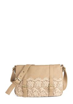 A Latte Like Love Bag by Darling - Tan, Buckles, Lace, Fairytale, Pockets, Party, Casual