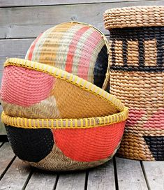 DIY ::  Stylish basket makeover. With just painter's tape and paint,
