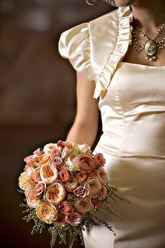 pretty autumn paired with ivory satin dress; floral/event design by bella fiori