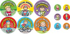 Boys bravery stickers - to help bring back a smile at those unfortunate moments!      12 mixed designs     Size: 36mm - 240 stickers     Size: 15mm - 120 stickers     360 stickers per pack     Ref: BA11  Price     £11.25 FREE UK DELIVERY     (£9.38 ex VAT)
