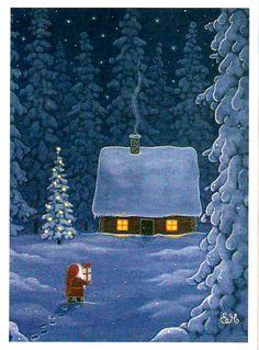 Eva-Melhuish Swedish Christmas, Woodland Christmas, Merry Christmas To All, Christmas Art, Winter Christmas, Vintage Christmas, Pagan Yule, Christmas Paintings, Winter Art