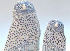 Stoneware owls from Lorraine Izon