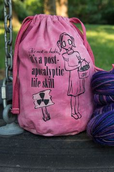 Knitting Project Bag 'post- apocalyptic life skill' Drawstring, Small Red