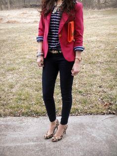 pink blazer, long sleeved striped tee, Dark Skinnies, Brown Belt, Leopard Heels