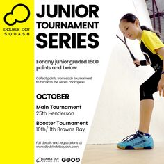 Register now for our junior tournaments coming up next month! For any junior graded 1500 points and below. - www.doubledotsquash.com/juniortournamentseries _ #doubledotsquash #squash #brownsbayracquetsclub #hernebayracketsclub #brownsbay #hernebay #squashauckland #squashnz #squashnewzealand #squashcoaching #squashcoach #juniorsquash #psaworldtour #lovesquash #squashclub #squashcourt #squashies #squashplayer #ddsjuniortournamentseries Squash Rules, Squash Gear, Squash Club, Play Squash, Sunday Events, Train Group, Double Dot, Total Body, Coaching