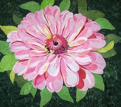 Add a lovely floral focal point to your favorite space with the Pink Zinnia Pattern by Melinda Bula Designs. Flower Quilts, Fabric Flowers, Thread Painting, Painting Flowers, Watercolor Flowers, Drawing Flowers, Fabric Painting, Landscape Quilts, Landscape Art