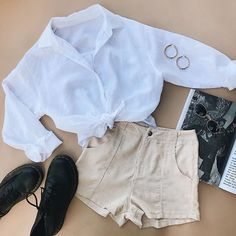 TBH, WE'RE OBSESSED ♡ Elle Linen Shirt, Hail Mary Shorts, Minc Collections Dusk Hoops + Dr. Martens 1460 Nappa Boots Online now! #PrincessPolly