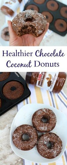 Healthier Chocolate Coconut Donuts are the most delicious dessert! Sweet chocolate + nutty coconut are the perfect combo in this nutritious treat. Made with and frosted with #LARANutButter - they're so delicious! @Costco /larabar/ #sponsored