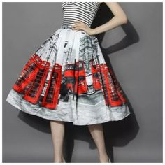 """London White Red Bus Cityscape Swing Full Skirt ‼️PRICE FIRM‼️   Full Scene Skirt Size One Size  Retail $99   SPECTACULAR! Words can not describe how beautiful this skirt is. Beautiful & bold scenes. One size, waistband stretches to fit your waist. Side Zip. Half lined for the full feminine look. 100% polyester with a spandex elastic waistband. Please check my closet for many more items including designer clothing, scarves, jewelry, handbags, shoes & much more.  Waist 25""""-32""""  Length 26""""…"""