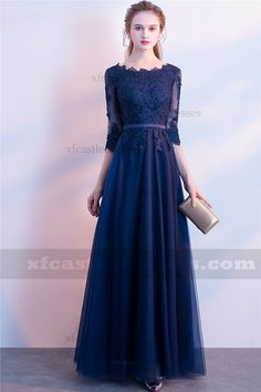 A Line Lace Evening Dresses with Sleeves MXN1487