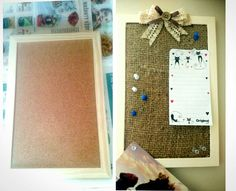 How to improve cork noticeboard with some paint and burlap