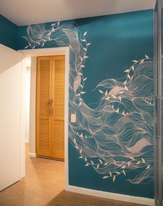 Graffiti im Haus ist der Trend zur Dekoration - Recipes & Travel via Grace - Wallpapers Designs - Оксана Ли Mural Wall Art, Mural Painting, Painted Wall Murals, Hanging Paintings, 3d Wall, Bedroom Wallpaper Murals, Wallpaper Ideas, Bathroom Mural, Bamboo Bathroom