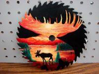Saw Blade Painting Original Pat King Moose Head Silhouette