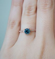 Montana Sapphire Engagement Ring Sapphire and Diamond by SKindCo