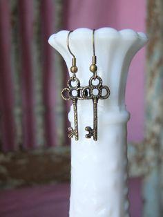 Skeleton key earrings antiqued bronze dangle metal earring keys lightweight vintage adorable copper on Etsy, $8.00