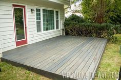 to stain a wood deck Build and stain a short deck over the ground to cover an old cement slab or gravel.Build and stain a short deck over the ground to cover an old cement slab or gravel. Concrete Patios, Cement Patio, Wood Patio, Backyard Patio, Gravel Patio, Outdoor Decking, Wpc Decking, Modern Backyard, Concrete Slab