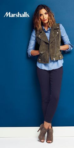 How to wear that chambray shirt! Layer it under a suede zip moto vest, paired with dark skinnies and opentoe braided booties. Visit Marshalls today for all the new fall pieces!