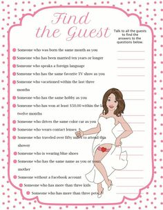 """Fun Bridal Shower Game  """"Find the Guest"""""""