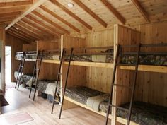 Bunk house so cool for friends after barn shop parties someday hunting cabin ideas plans with bathroom decor bathrooms contemporary small floor fr Wooden Wall Design, Bunk Rooms, Kids Bunk Beds, Cabin Bunk Beds, Log Homes, Hostel, Bungalow, House Plans, House Design