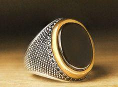 925 K Sterling Silver Man Ring Black Onyx 11 US Size B18-64122 #eJOYA #Statement