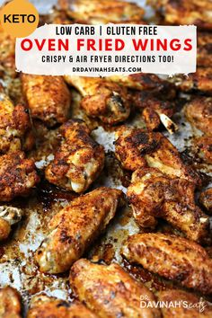 An easy, cheap keto dinner recipe for Oven Fried Chicken Wings. Using a special tip, you get the taste of fried chicken without deep frying. Besides keto & low-carb, this chicken wing recipe is perfect for those looking to have chicken wings without all the extra oil. #keto #lowcarb #easy #recipe #chicken #chickendinner #ketodinner #airfryer #sheetpanmeal #healthydinner