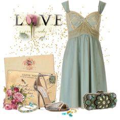 Blue slip dress with vintage
