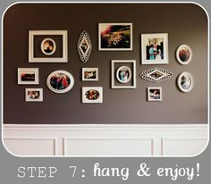 I have one dark brown wall in my living room, just like this one. So doing this- love the way the white pops against the brown! Cute frames too! Cute Frames, Picture Frames, Displaying Family Pictures, Dark Brown Walls, Shabby Chic Frames, Family Wall, Frame Wall Decor, Hanging Pictures, Inspiration Wall