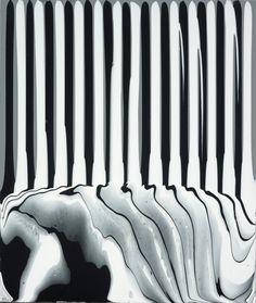 Ian Davenport | Puddle Painting: Grey/Black/White acrylic paint on aluminium, mounted on aluminium panel 17 3/4 x 15 in / 45 x 38 cm