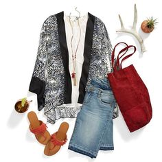 Out Of Office Re: Vacation. Stay cool during desert excursions in breezy kimonos & cutoffs. #SpringBreak