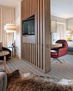 92 Stylish Homes With Modern Interior Design 13 - kindledecor Living Room Partition, Room Partition Designs, Wood Partition, Living Room Divider, Living Room Designs, Living Room Decor, Suites, Modern Room, Modern Living