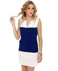 Tailor Shift Blue and White Shift Dress  $36.00