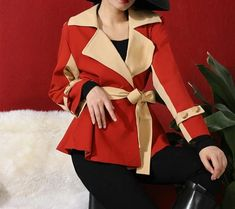 Winter fashion women clothes turn-down collar full sleeves PU red beige color patchwork high waist Best Winter Jackets, Jackets For Women, Clothes For Women, Sexy High Heels, Beige Color, Winter Fashion, Blazer, Womens Fashion, Sleeves
