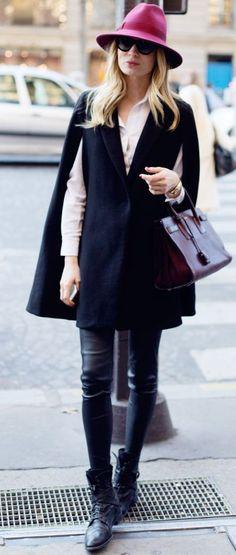 Alexa Dagmar Pink Hat And Black Cape Fall Street Style Inspo