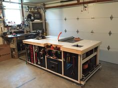 Rolling workstation, table saw cabinet or call it my work island; I made to incorporate a table saw, chop saw, router and other various tools. Woodworking Bench, Woodworking Shop, Woodworking Projects, Woodworking Magazines, Unique Woodworking, Home Workshop, Garage Workshop, Mobile Workshop, Workshop Ideas