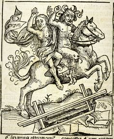 Sorceress and Devil, Nuremberg Chronicle, 1493 Stock Photo Medieval Manuscript, Medieval Art, Medieval Life, Medieval Witch, Medieval Horse, Devils On Horseback, Maleficarum, Demonology, Bizarre