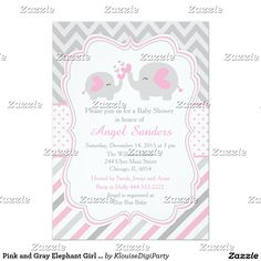 Pink and Gray Elephant Girl Baby Shower Card