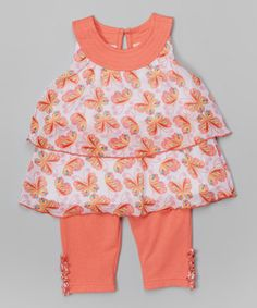 Coral Butterfly Tunic & Leggings - Toddler