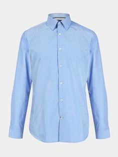 Blue Slim Fit Stripe Easy Care Shirt