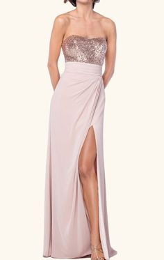 MACloth Strapless Sequin Chiffon Long Bridesmaid Dress Rose Gold Wedding Party Formal Gown