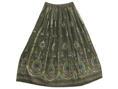 "Amazon.com: Beaded Long Skirt, Peasant Maxi Skirt Olive Green Gypsy Fashion Skirts 36"": Clothing"