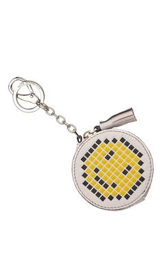 Coin Purse Pixel Smiley In Chalk Capra by ANYA HINDMARCH for Fall 2016