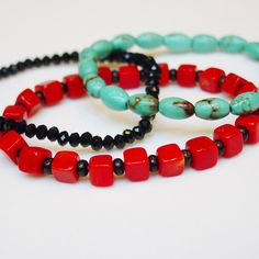 Trio of Bracelets / Turquoise / Coral / Black Crystal / Bright / Fun / Stack / Stacking / Bracelets / Stretchy / Semiprecious Stones by minxandmaven on Etsy