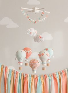 Coral and Aqua Baby Mobile Hot Air Balloon by sunshineandvodka