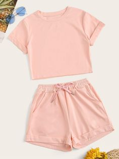 To find out about the Solid Tee & Drawstring Waist Shorts at SHEIN, part of our latest Two-piece Outfits ready to shop online today! Girls Fashion Clothes, Teen Fashion Outfits, Mode Outfits, Girl Fashion, Punk Fashion, Lolita Fashion, Fashion Dresses, Cute Lazy Outfits, Summer Outfits