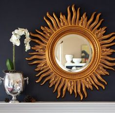 Mantel, gold sunburst mirror